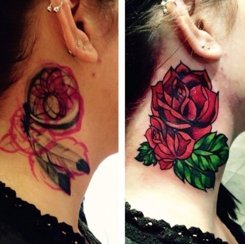 Emily Grant Tattoo floral design on neck