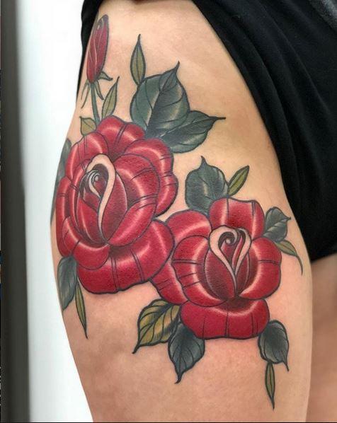 traditional rose Joey Nichols Studio City Tattoo