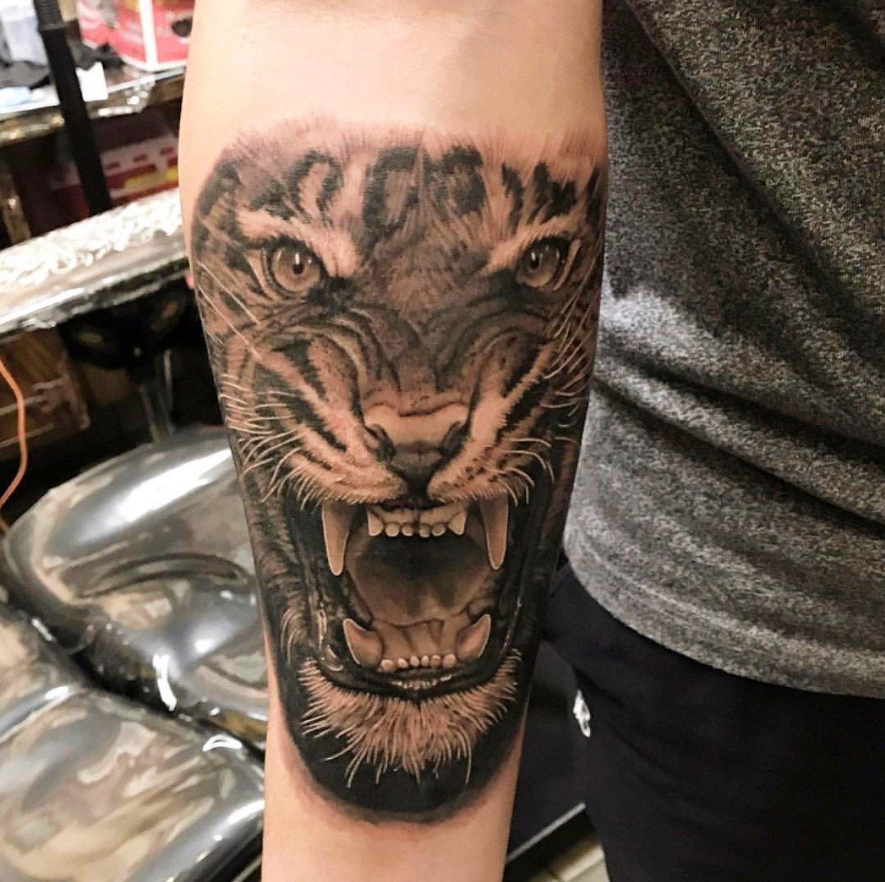 jim down tiger black grey realism tattoo