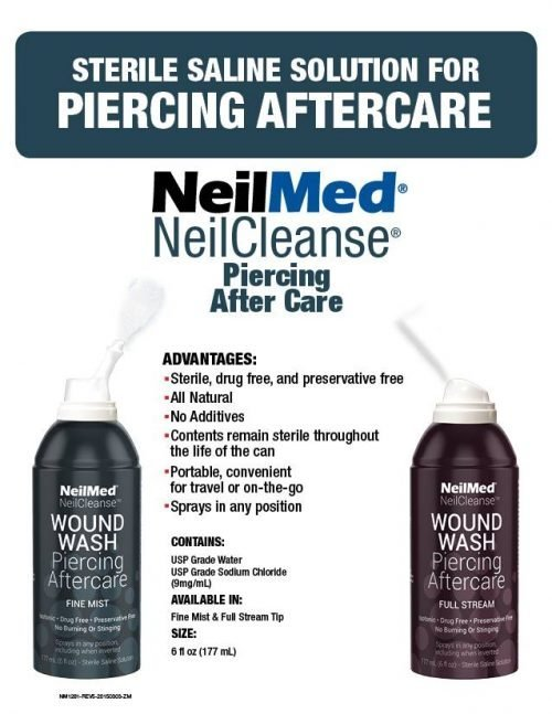 sterile saline aftercare solution for piercings