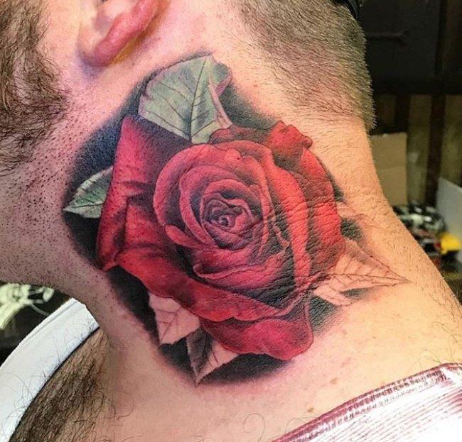 Dan McWilliams Neck rose tattoo studio city tattoo