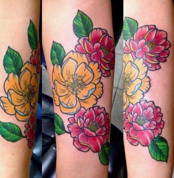 Jim Down Floral Tattoo Studio City Tattoo