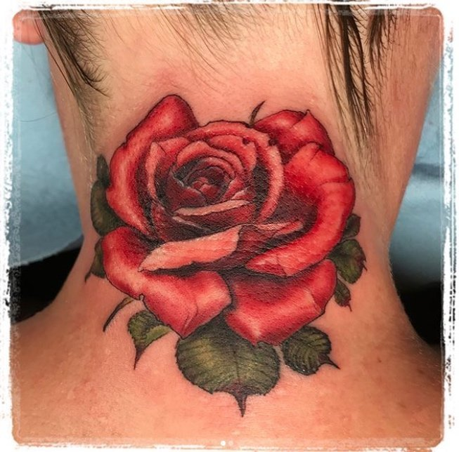 Jose Menendez Rose coverup tattoo on neck