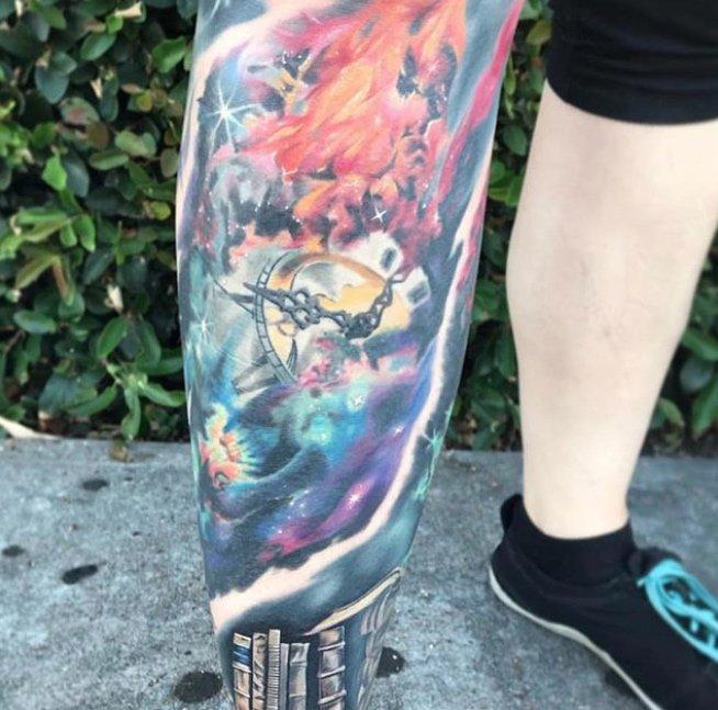 dan mcwilliams leg tattoo eternal time studio city tattoo