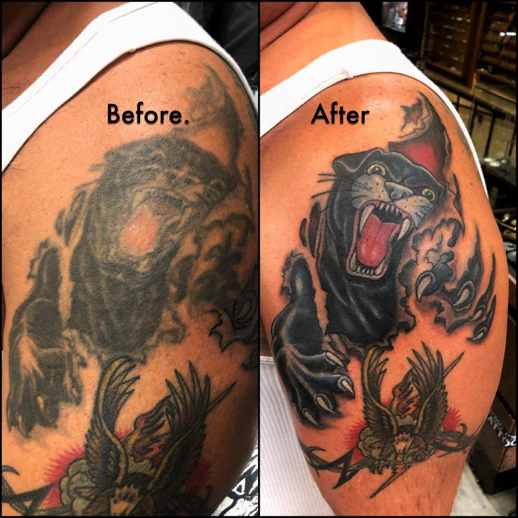 cover up tattoo panther Capt.Dave studio city tattoo