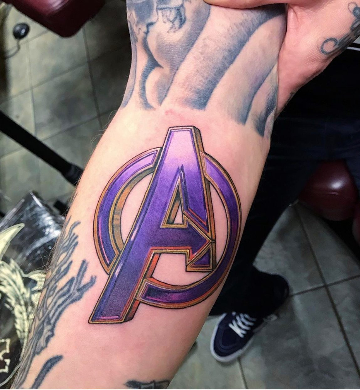 jim down marvel avengers color tattoo los angeles