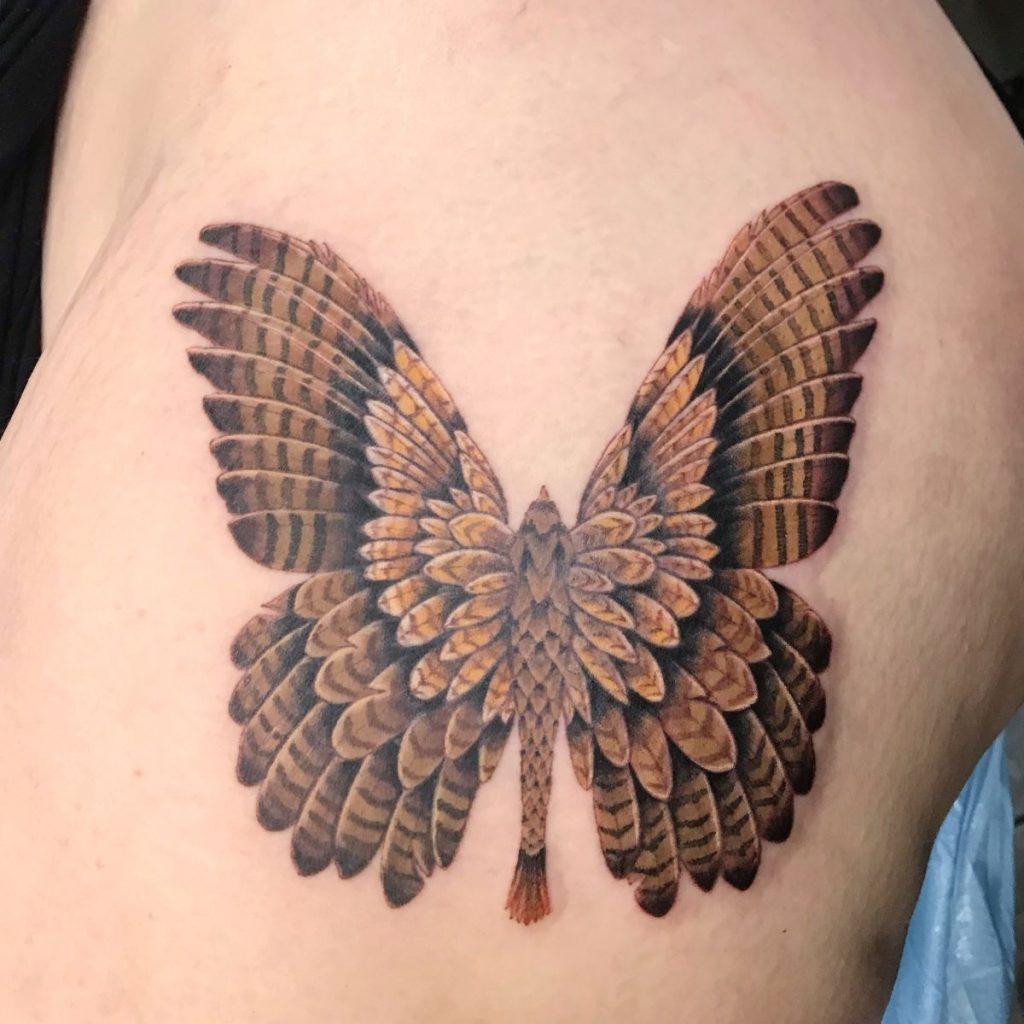 jim down los angeles tattoo artist hawk butterfly