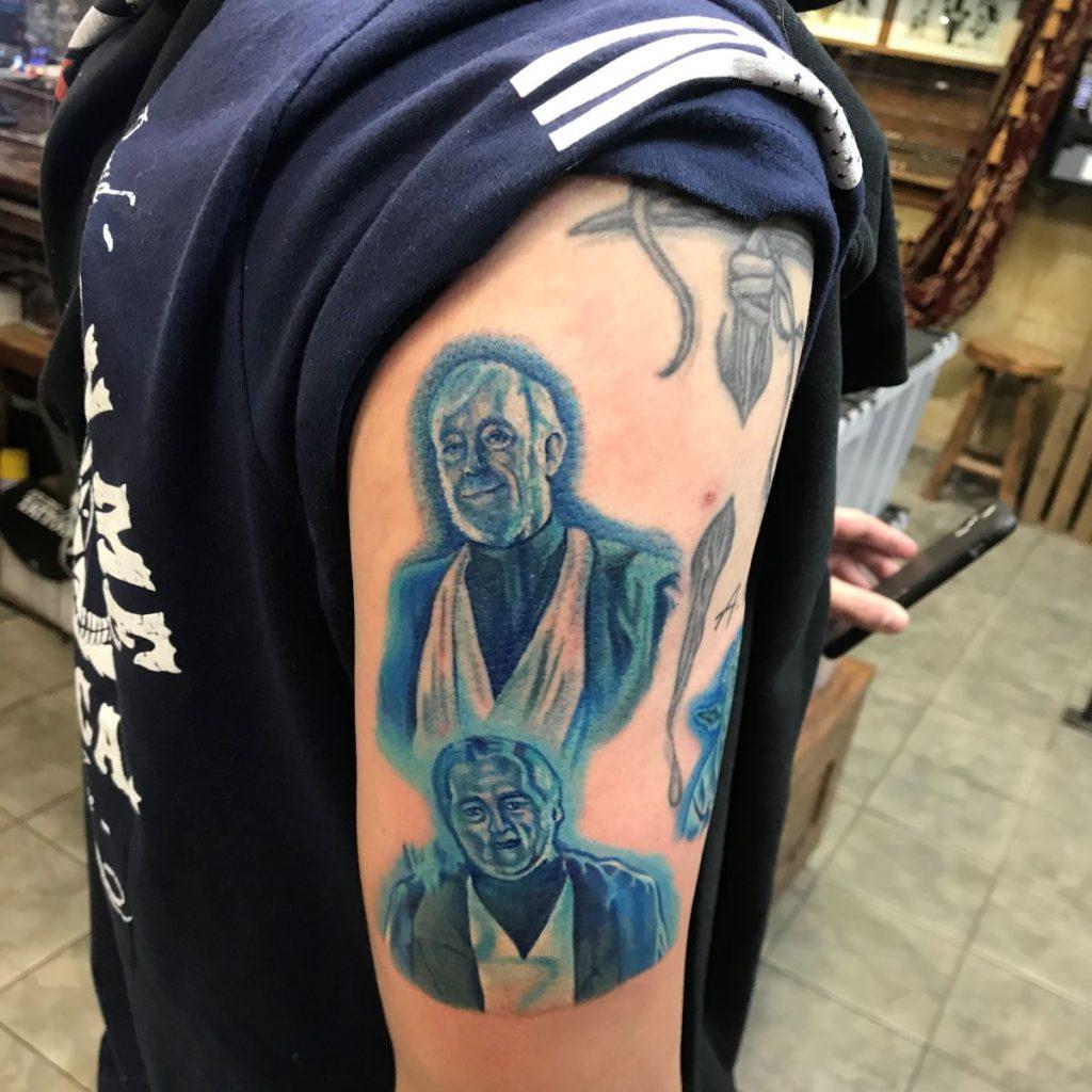jim down tattoo artist Obi-Wan Kenobi portrait