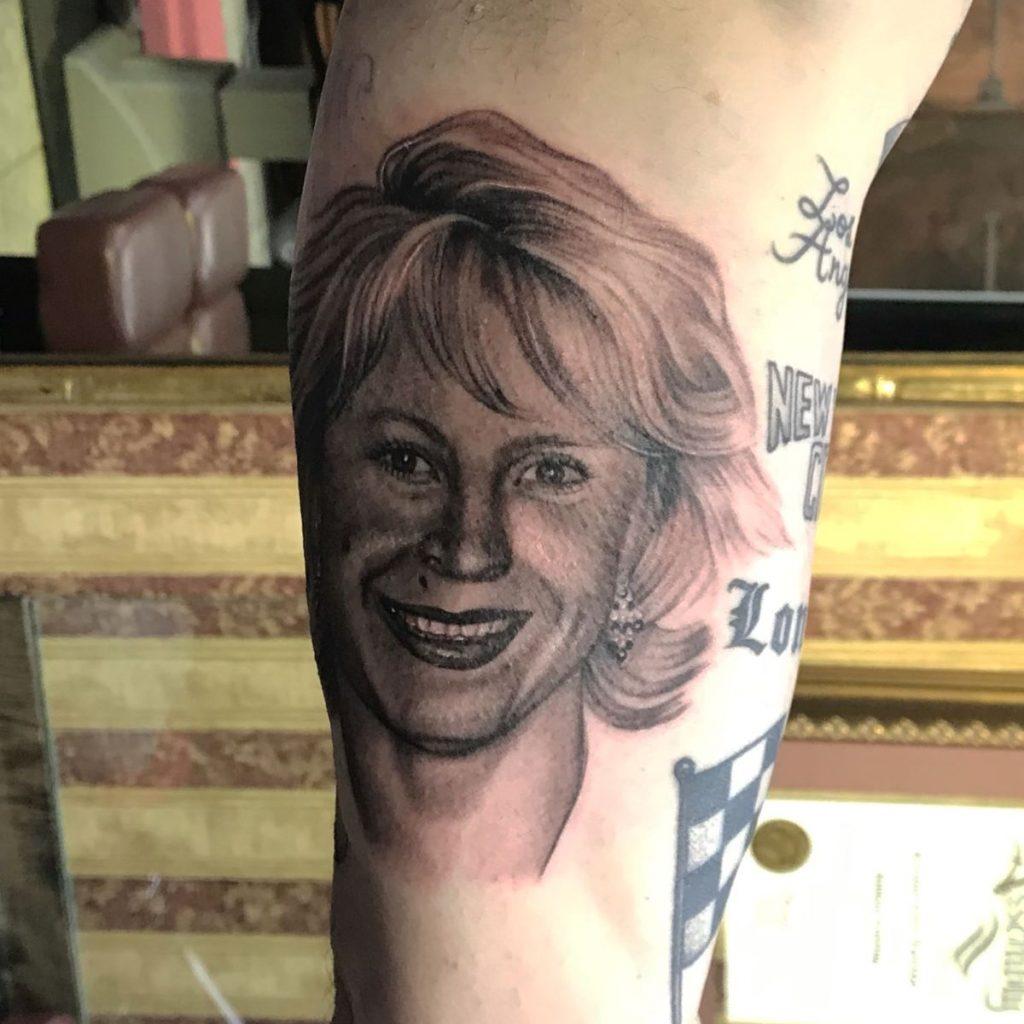 jim down tattoo artist black white female portrait