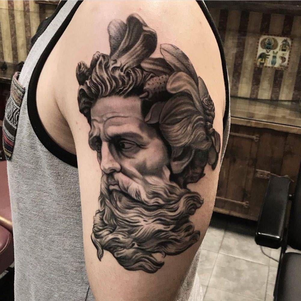 jim down tattoo black grey realism sculptor head web