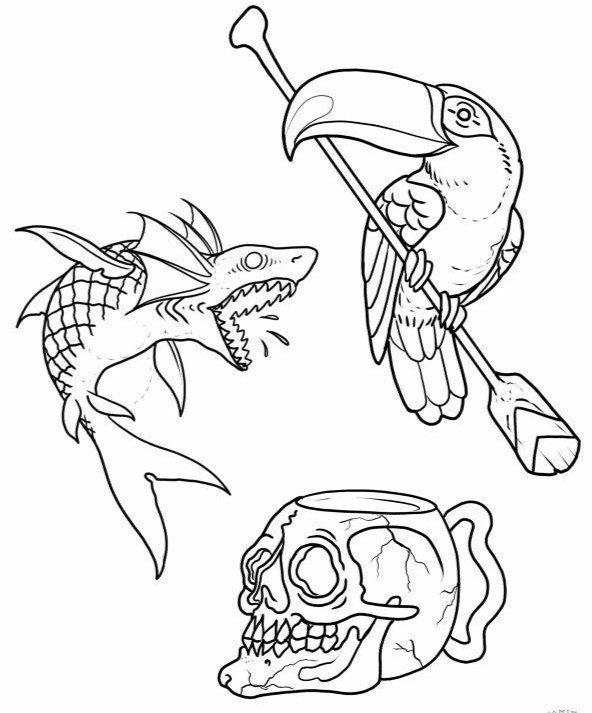 Jose Menendez Drawing -Shark & Birds