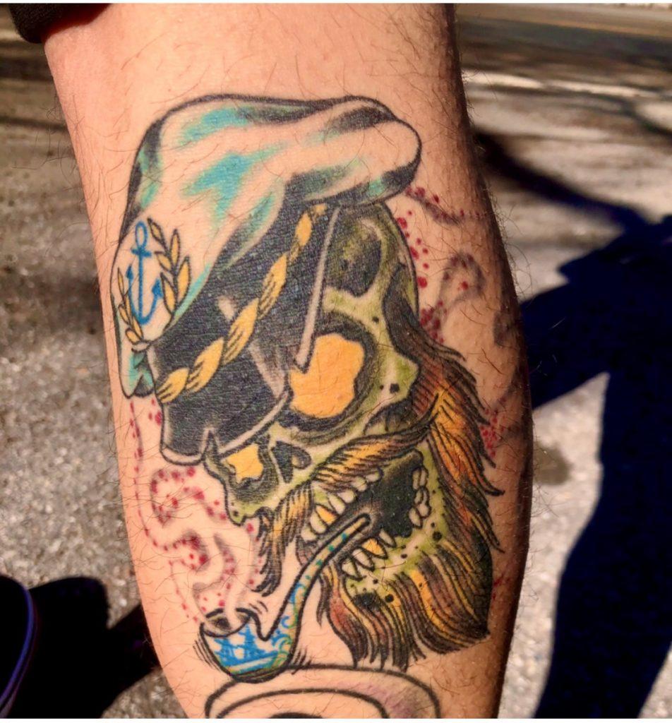 Captn Dave traditional tattoo sailor skull